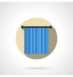Blue curtain round flat icon vector image