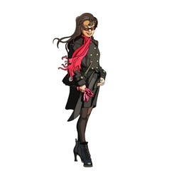 cartoon girl in coat with scarf fluttering in the vector image