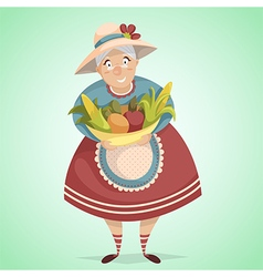 Cartoon old woman farmer character vector