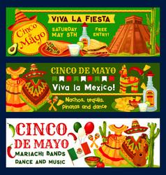 Cinco de mayo mexican fiesta party banners vector