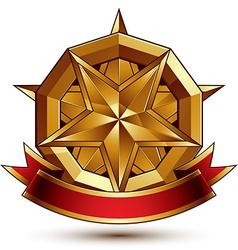 Complicated golden design element with pentagonal vector image