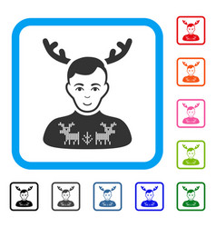 Deers pullover horned husband framed cheerful icon vector