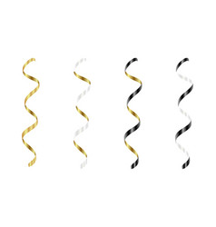 Gold silver white black streamers set silver vector