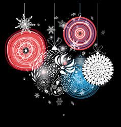 graphic festive greeting card with christmas balls vector image vector image