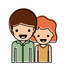 Half body people with boy in shirt long sleeve and vector