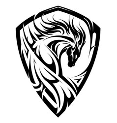 horse emblem as shield vector image
