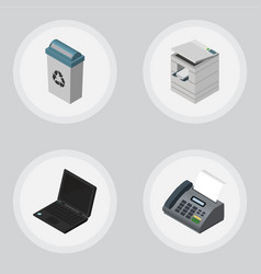 Isometric office set of scanner office phone vector