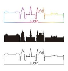 Lublin skyline linear style with rainbow vector image vector image