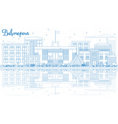 Outline belmopan skyline with blue buildings and vector