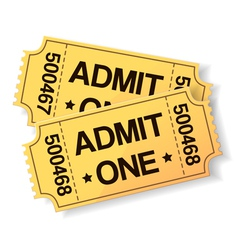 pair of yellow cinema tickets vector image
