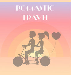 romantic travel couple poster vector image vector image