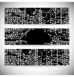 Set of horizontal banners microchip background vector