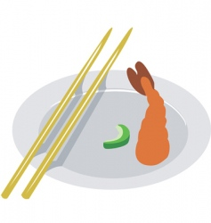 shrimp and chopstick vector image vector image