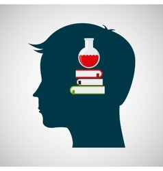 Silhouette head chemical book test tube design vector