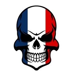 Skull in france flag colors vector