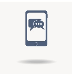 smartphone phone with Speech bubbles inside icon vector image vector image
