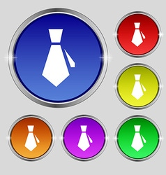 tie icon sign Round symbol on bright colourful vector image vector image