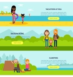 Vacation flat horizontal banners vector