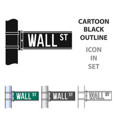 wall street sign icon in cartoon style isolated on vector image vector image