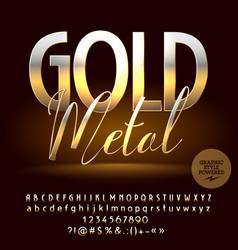 warm gold reflective set of alphabet letter vector image