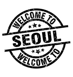 Welcome to seoul black stamp vector