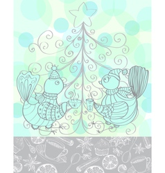 Winter holiday background with cute birds vector image vector image