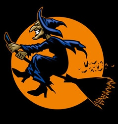 Witch ride a flying broomstick vector