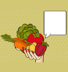 Woman hand with many vegetables vector