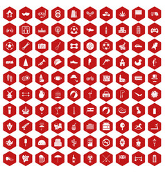 100 ball icons hexagon red vector