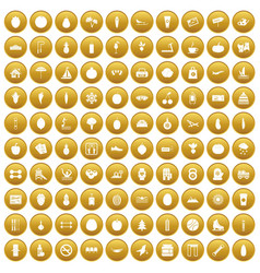 100 wellness icons set gold vector