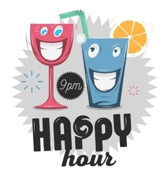 Happy hour funny cartoon smiling glass characters vector