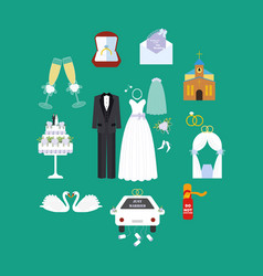 Wedding set vector