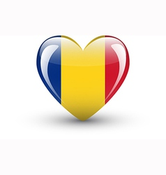 Heart-shaped icon with national flag of romania vector