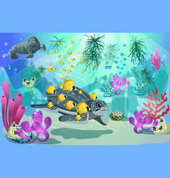 Colorful underwater marine landscape template vector