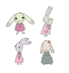 A set of cute cartoon bunny girls beautiful vector