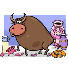 Bull in a china shop cartoon vector