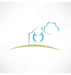 Happy home icon vector