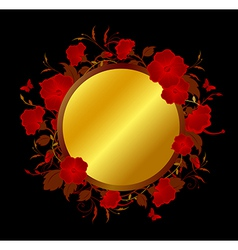 Black background with red flowers vector image