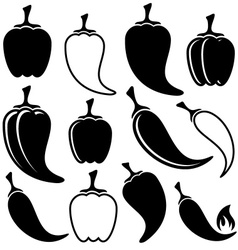 Black peppers icons vector