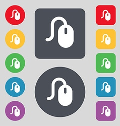 Computer mouse icon sign a set of 12 colored vector