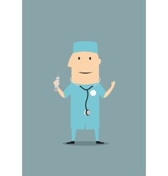 Cartoon doctor holding a syringe and stethoscope vector