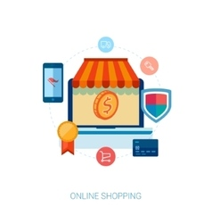 Online shopping and e-commerce flat icon vector