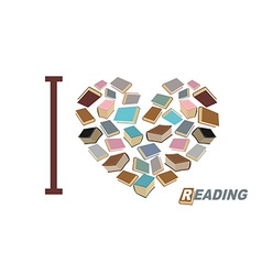 I love to read symbol heart of book reading many vector