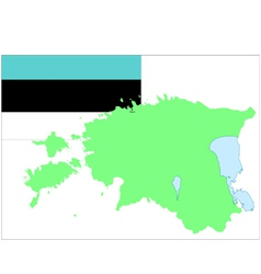 6208 estinian map and flag vector image vector image