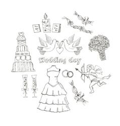 Doodle wedding set for invitation cards vector image