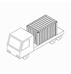 Cargo container on truck icon isometric 3d style vector