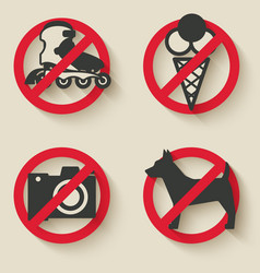 Prohibited signs icons vector