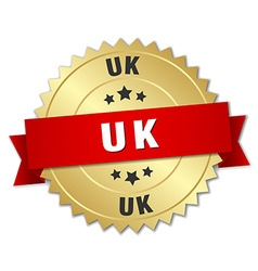Uk round golden badge with red ribbon vector