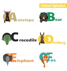 Animal alphabet set 1 vector