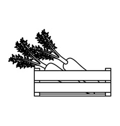 Black silhouette of thick contour of wooden box vector